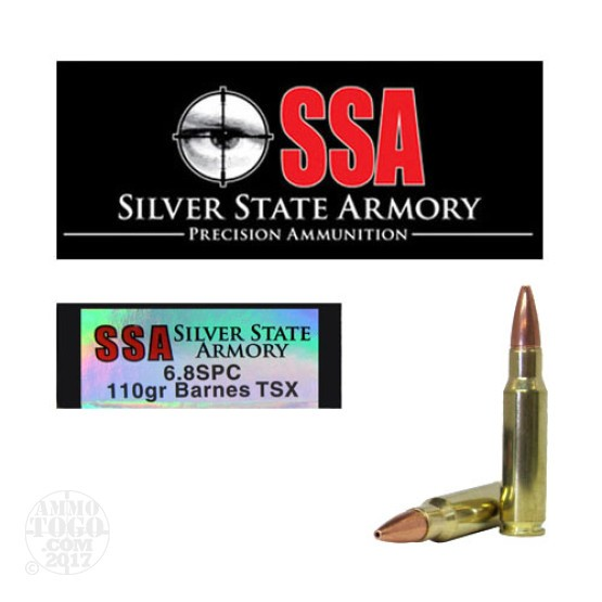 20rds - 6.8 SPC Silver State Armory 110gr. Barnes TSX Ammo