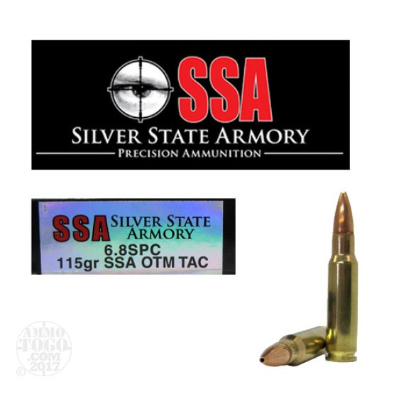 200rds - 6.8 SPC Silver State Armory 115gr. SSA OTM TACTICAL Load Ammo