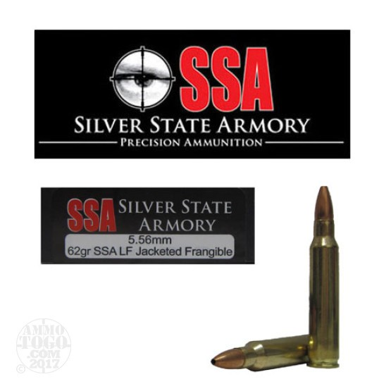 20rds - 5.56 Silver State Armory 62gr. SSA Lead Free Jacketed Frangible Ammo