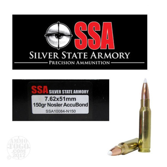 20rds - 7.62 x 51mm Silver State Armory 150gr. Nosler Accubond Ammo