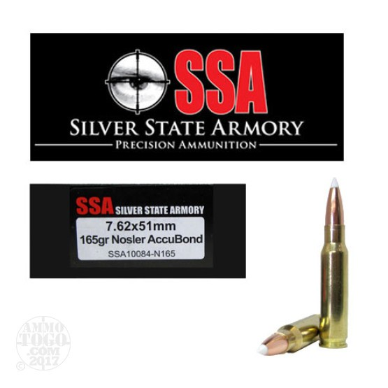 200rds - 7.62 x 51mm Silver State Armory 165gr. Nosler Accubond Ammo