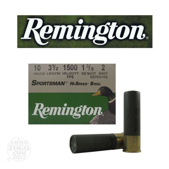 "25rds - 10 Gauge Remington Sportsman Hi-Speed Steel 3 1/2"" 1 3/8oz. #2 Shot Ammo"