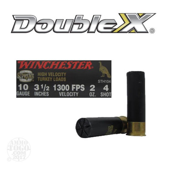 "100rds - 10 Gauge Winchester Supreme High Velocity 3 1/2"" 2oz. #4 Shot Ammo"