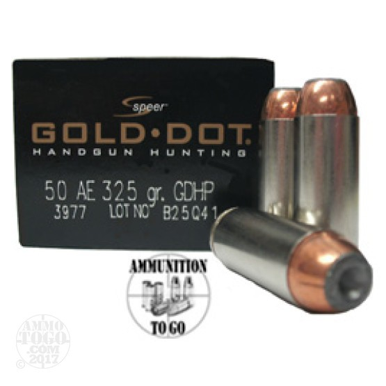 20rds - 50 AE Speer Gold Dot 325gr. HP Ammo