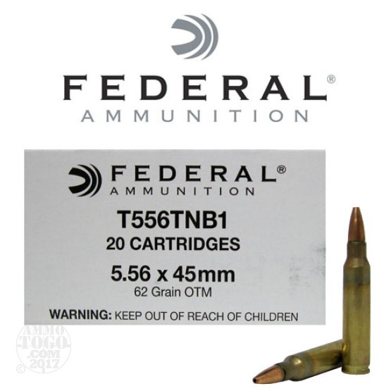 20rds - 5.56 Federal Commercial Version MK318 MOD-0 62gr. OTM (SOST) Ammo