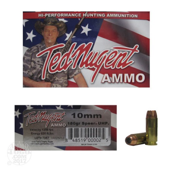 20rds - 10mm Ted Nugent 180gr. Speer UHP Ammo