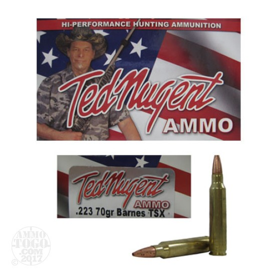 20rds - 223 Ted Nugent Ammo 70gr. TSX HP Ammo