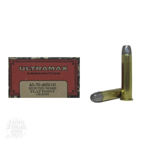 20rds - 45-70 Govt. Ultramax 405gr. Lead Round Nose Flat Point Ammo