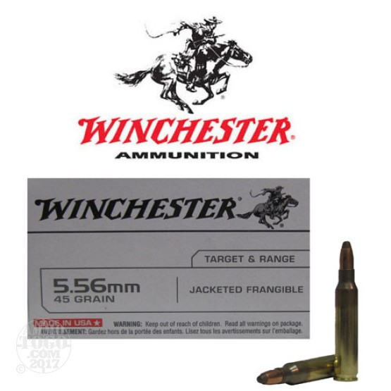 100rds - 5.56 Winchester 45gr. Jacketed Frangible Ammo
