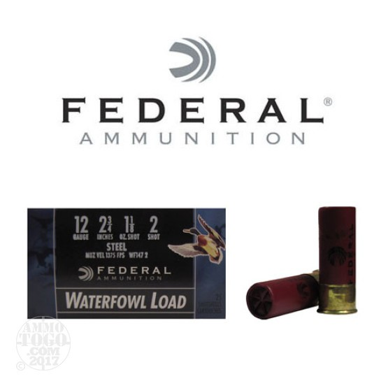 "250rds - 12 Ga. Federal Speed-Shok 2 3/4"" 1 1/8oz #2 Steel Shot Ammo"