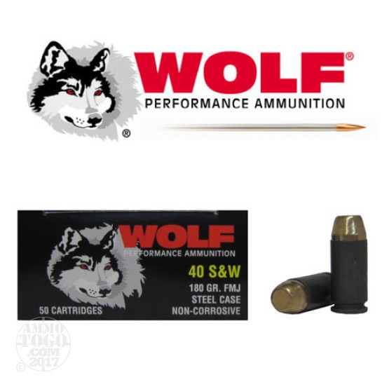 50rds - 40 S&W Wolf 180gr. FMJ Ammo