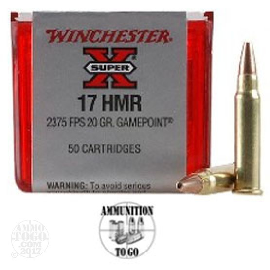 50rds - .17 HMR Winchester Super-X 20gr. Game Point HP Ammo