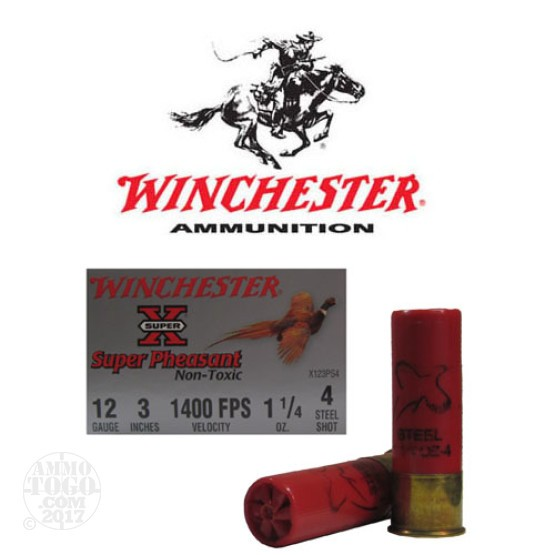 "250rds - 12 Gauge Winchester Super Pheasant 3"" 1 1/4oz. #4 Steel Shot"