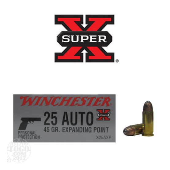 50rds - 25 Auto Winchester 45gr. Expanding FMJ Ammo