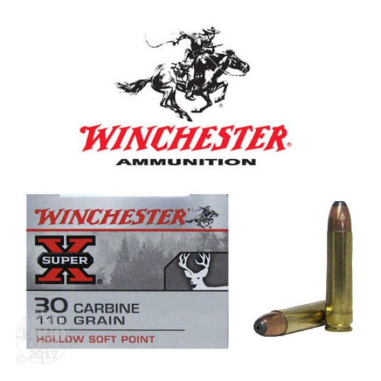 50rds - 30 Carbine Winchester Super-X 110gr. Hollow Soft Point Ammo