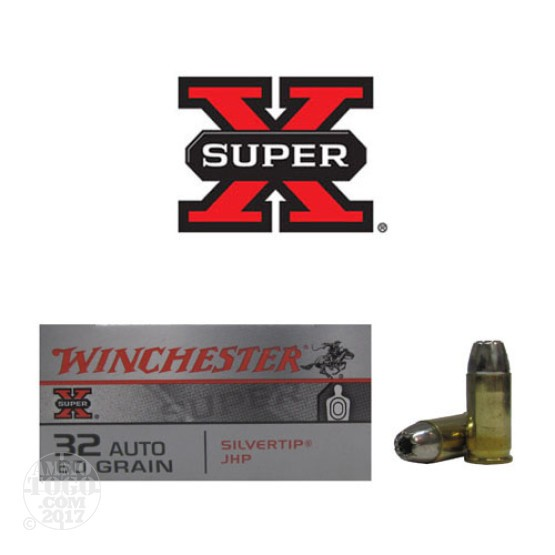 50rds - 32 Auto Winchester Silver Tip 60gr. JHP Ammo