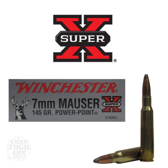 20rds - 7mm Mauser Winchester 145gr. Super-X Power Point Ammo