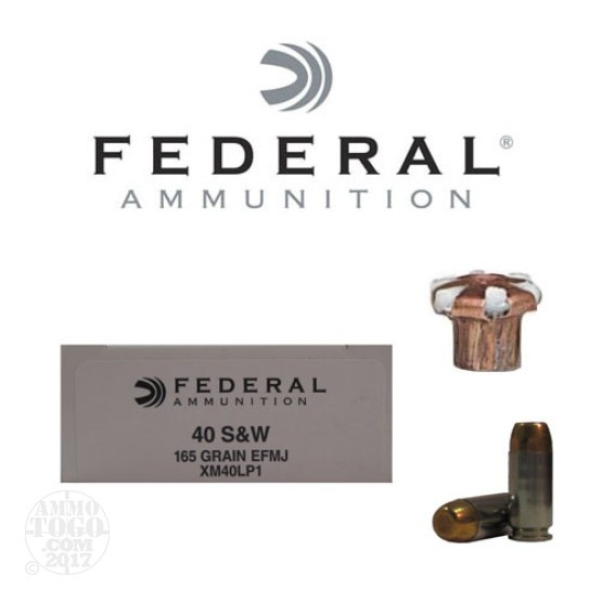 50rds - 40 S&W Federal LE Tactical EFMJ 165gr. Ammo