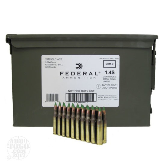 820rds - 5.56 Federal Lake City XM855LC AC3 62gr. Penetrator Ammo