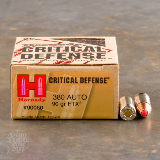 250rds - .380 Auto Hornady Critical Defense 90gr. FTX Hollow Point Ammo
