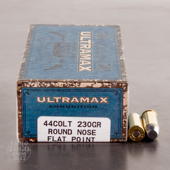 50rds - 44 Long Colt Ultramax 230gr. Round Nose Flat Point Ammo