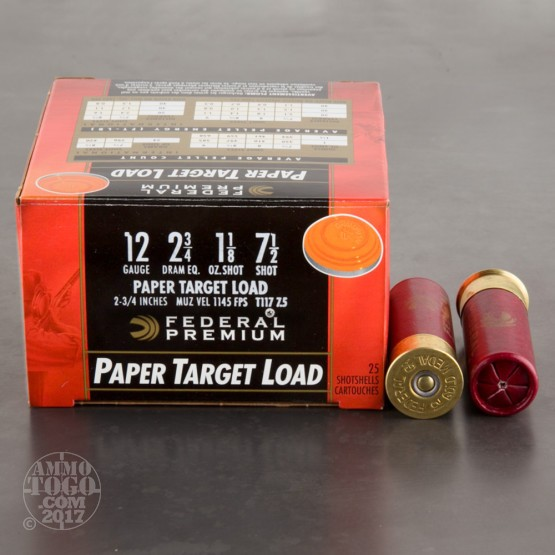 "25rds - 12 Gauge Federal Gold Medal Paper 2 3/4"" 1 1/8oz. #7 1/2 Shot Ammo"