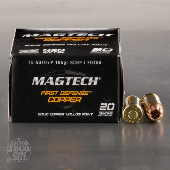 20rds - 45 ACP Magtech First Defense 165gr. +P Solid Copper HP Ammo