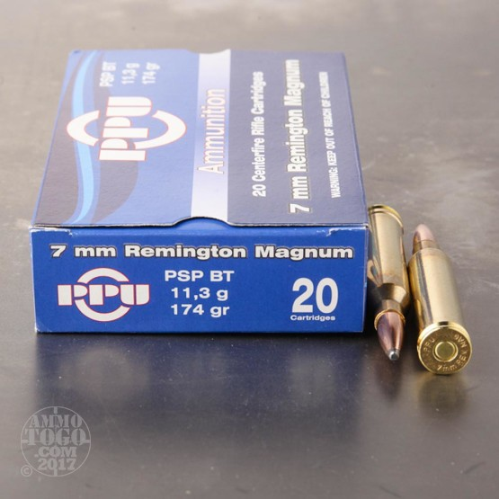 20rds - 7mm Rem Mag Prvi Partizan 174gr. Pointed Soft Point Ammo