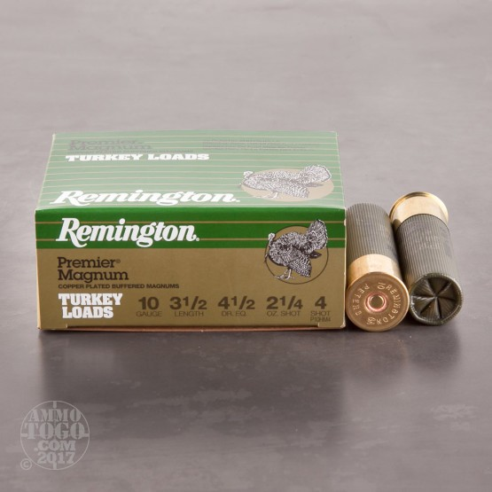 "10rds - 10 Gauge Remington Premier Magnum 3 1/2"" #4 Turkey Load Ammo"