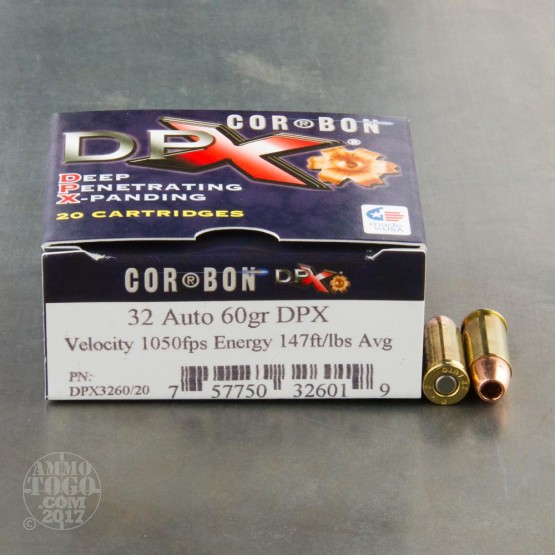 20rds - 32 Auto Corbon 60gr. DPX HP Ammo