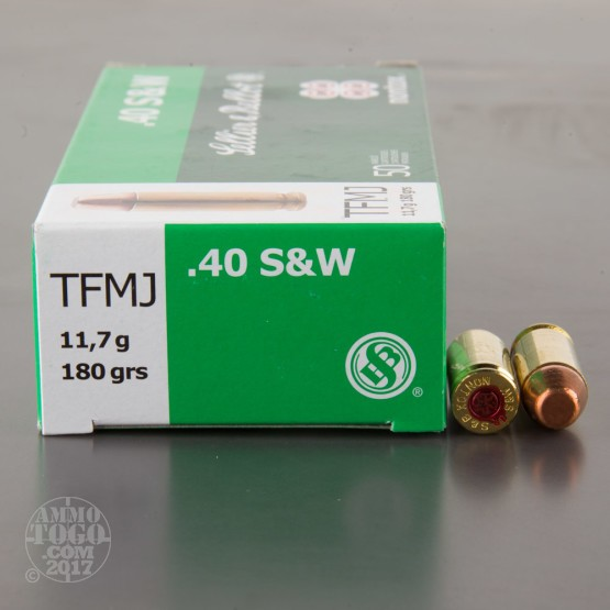 50rds - 40 S&W Sellier & Bellot 180gr. TFMJ NonTox Ammo
