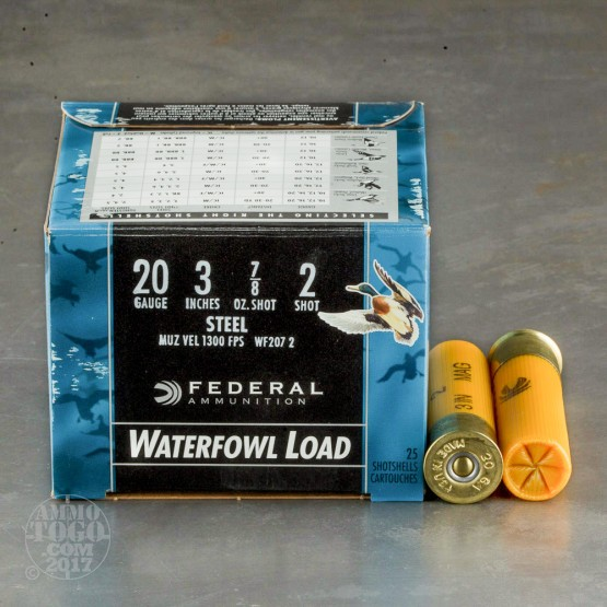 "25rds - 20 Gauge Federal Speed-Shok 3"" 7/8oz #2 Steel Shot Ammo"