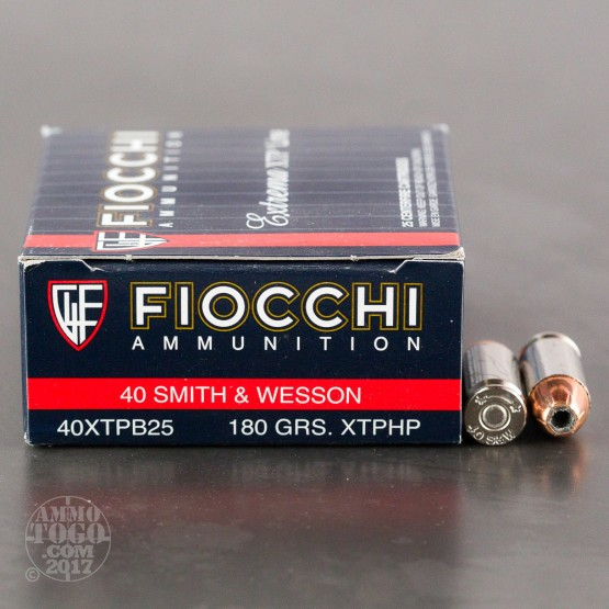 25rds - 40 S&W Fiocchi 180gr. XTP Hollow Point Ammo