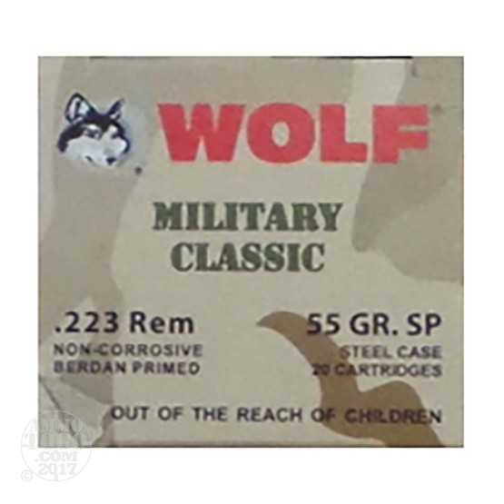 20rds – 223 Wolf WPA Military Classic 55gr. SP Ammo