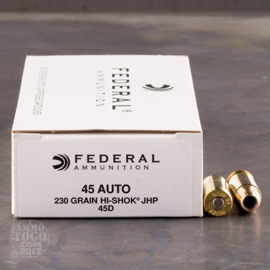 50rds - 45 ACP Federal LE Hi-Shok 230gr. Hollow Point Ammo