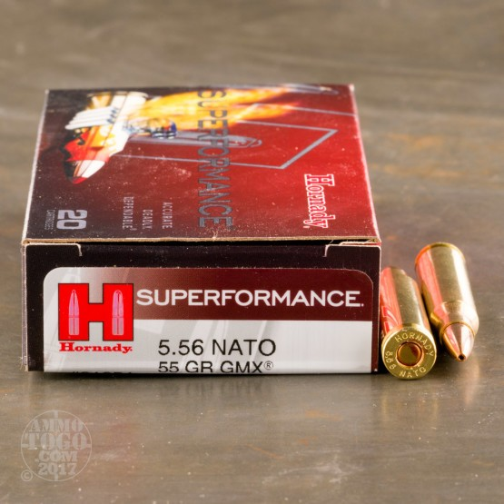 20rds - 5.56 NATO Hornady Superformance 55gr. GMX Ammo