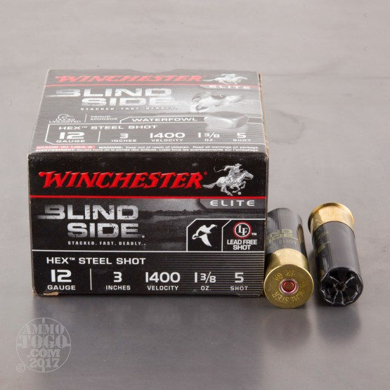 "25rds - 12 Ga. Winchester Elite Blind Side 3"" 1 3/8oz #5 Hex Steel Shot"