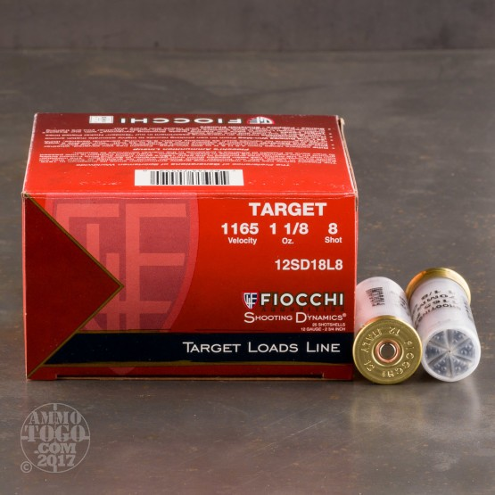 "250rds - 12 Gauge Fiocchi Target Shooting Dynamics 2 3/4"" 1 1/8oz. #8 Shot Ammo"