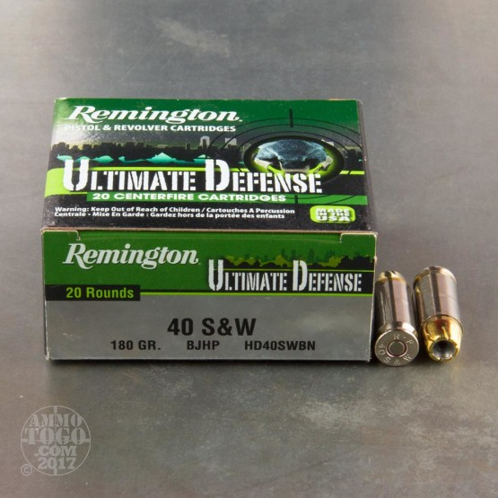 20rds - 40 S&W Remington Ultimate Defense 180gr. BJHP Ammo