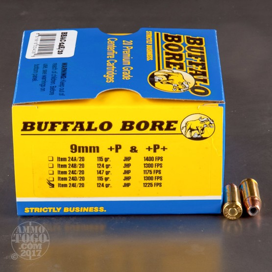 20rds - 9mm Luger Buffalo Bore 124gr.+P JHP Ammo