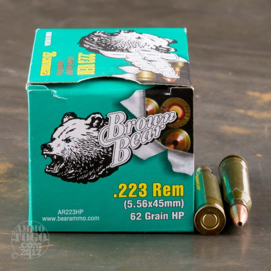 20rds - 223 Brown Bear 62gr. Hollow Point Ammo