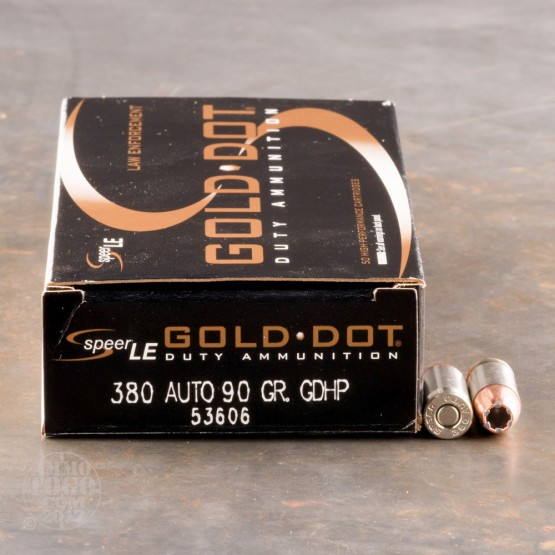 50rds - 380 Auto Speer LE Gold Dot 90gr. HP Ammo