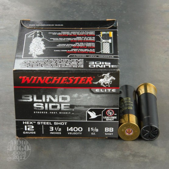 "25rds - 12 Ga. Winchester Elite Blind Side 3 1/2"" 1 5/8oz. BB Hex Steel Shot Ammo"