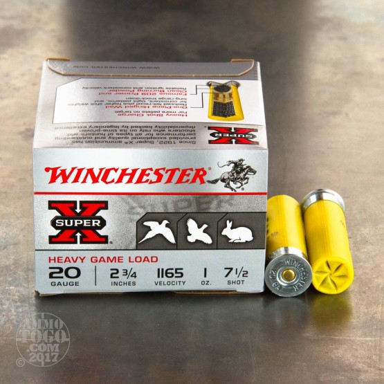 """250rds - 20 Gauge Winchester Super-X Heavy Game Load 2 3/4"""" #7 1/2 Shot Ammo"""