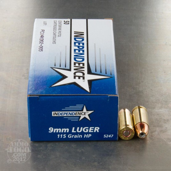 50rds - 9mm Independence 115gr. JHP Ammo