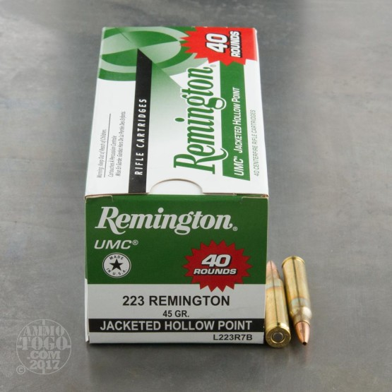 40rds - .223 Remington UMC 45gr. JHP Ammo