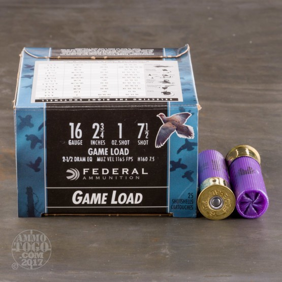 "250rds - 16 Gauge Federal Game-Shok 2 3/4"" 1oz. #7 1/2 Shot Ammo"