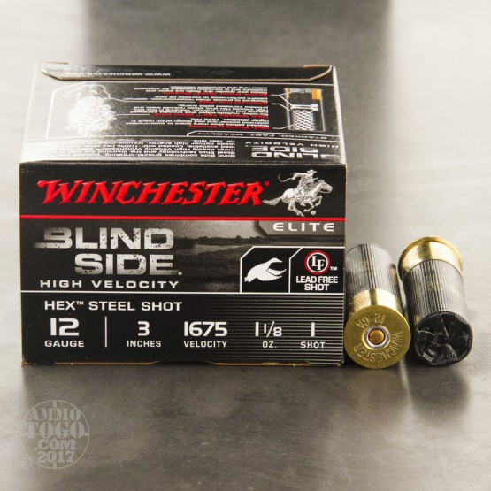 """25rds - 12 Ga Winchester Blind Side 1 1/8 Ounce 3"""" #1 Shot Ammo"""