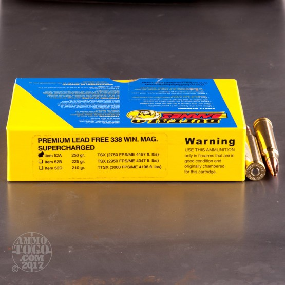 20rds - 338 Win. Mag. Supercharged Buffalo Bore 250gr. Barnes TSX HP Ammo