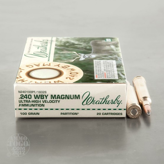20rds - 240 Weatherby Magnum 100gr. Partition Ammo